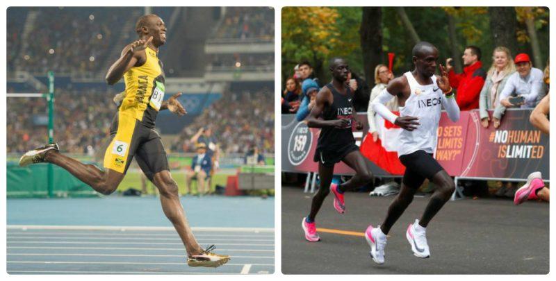 van dong vien chay bo Usain Bolt va Uliud Kipchoge